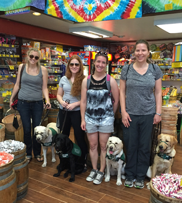Allison, Remy, Megan, and Rachel with yellow lab Nabu, yellow lab Julep, black lab Aria, and yellow lab Lodi